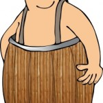 Man Wearing a Barrel